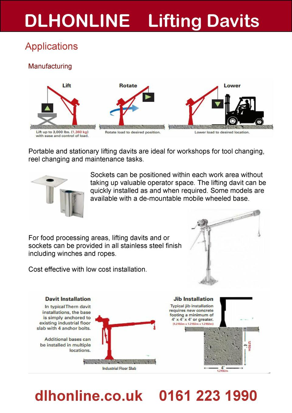 Guide To Lifting Davits Thern Winch Wiring Diagram Dlhonline Applications Manufacturing Portable And Stationary Are Ideal For Workshops