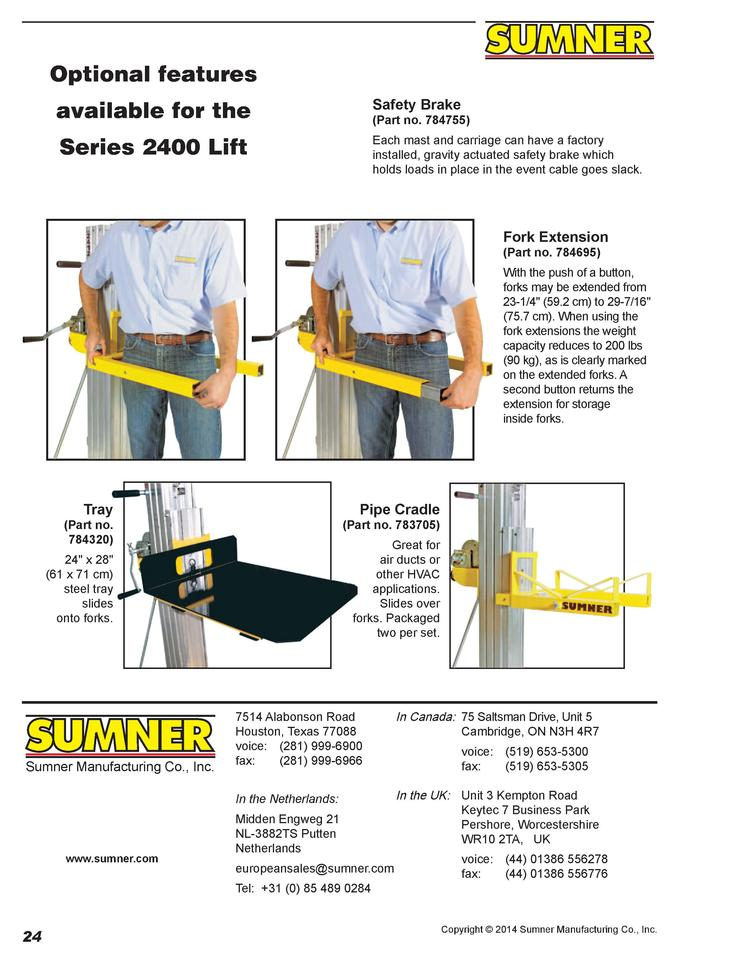 Sumner 784695 Fork Extension Install Kit for Series 2400 Lifts