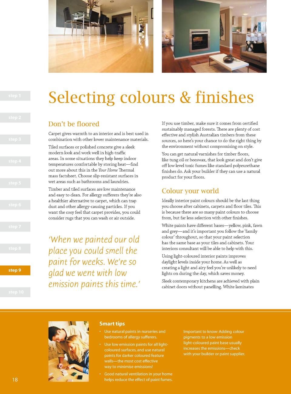 step 1  Selecting colours   finishes  step 2  Don   t be floored step 3  step 4  step 5  step 6  Carpet gives warmth to an...