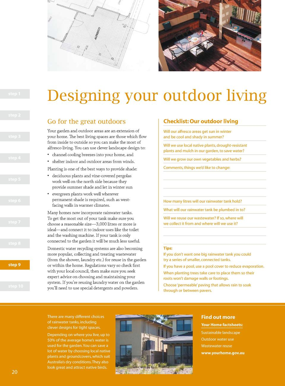 step 1  Designing your outdoor living  step 2  Go for the great outdoors step 3  step 4  step 5  step 6  step 7  step 8  s...