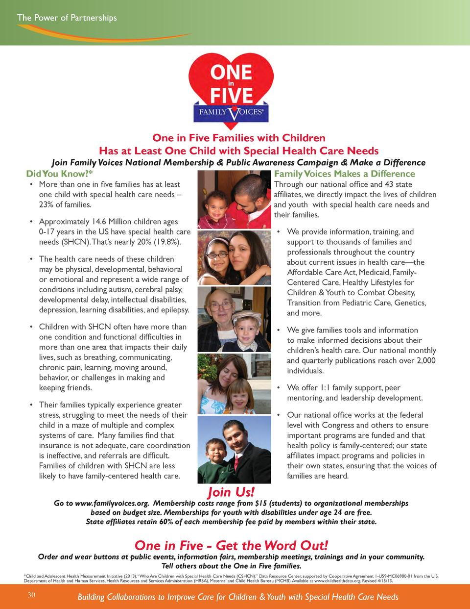 The Power of Partnerships  One in Five Families with Children Has at Least One Child with Special Health Care Needs  Join ...