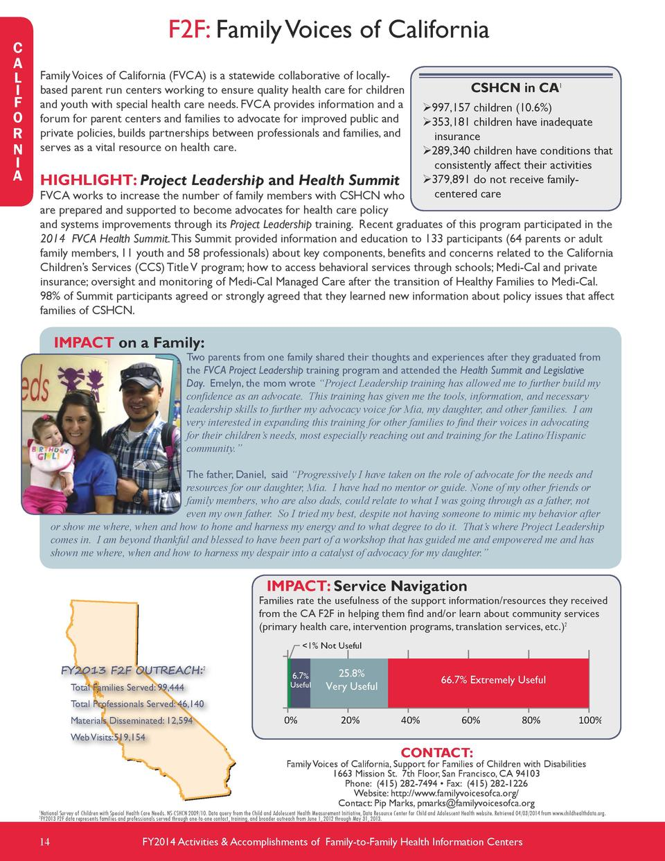 C A L I F O R N I A  F2F  Family Voices of California Family Voices of California  FVCA  is a statewide collaborative of l...