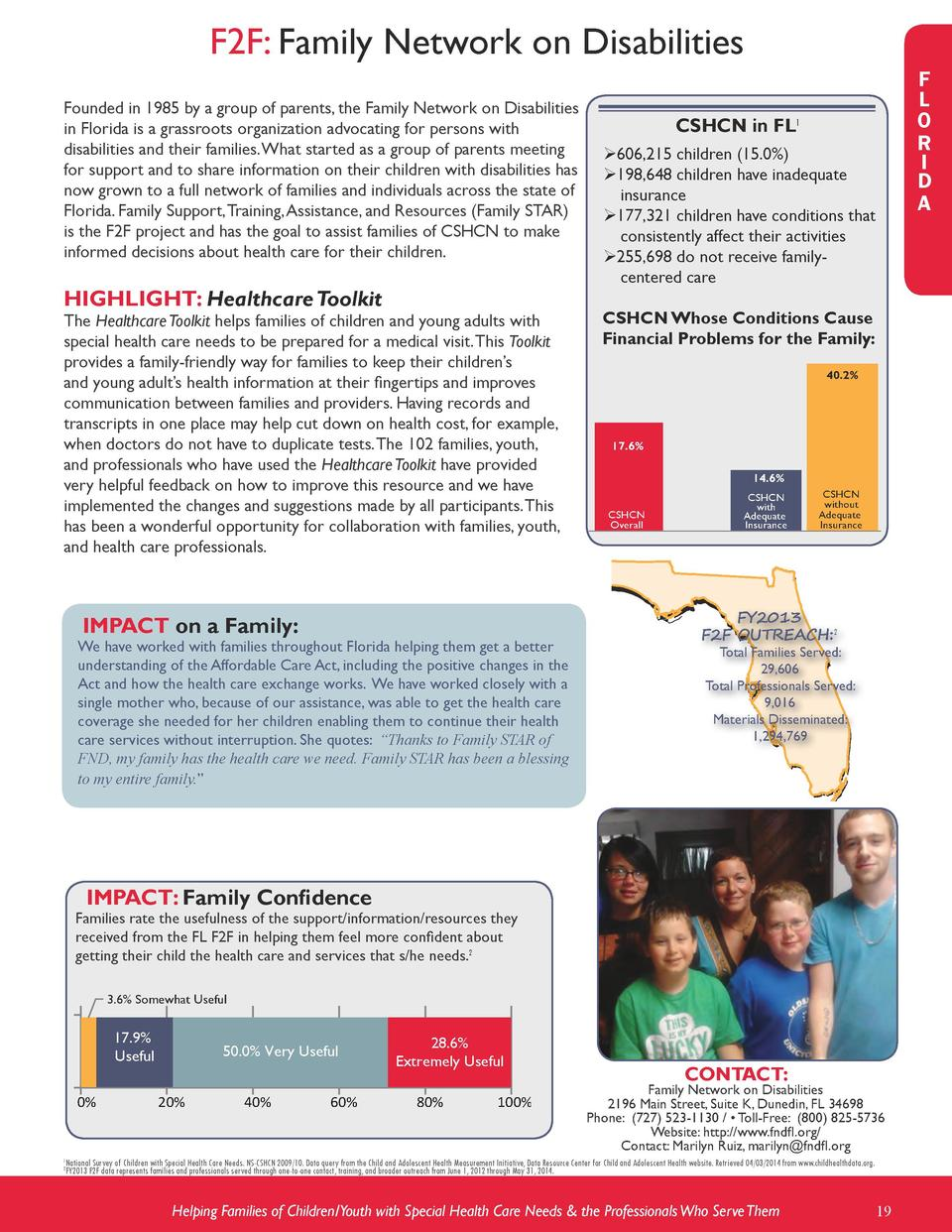 F2F  Family Network on Disabilities Founded in 1985 by a group of parents, the Family Network on Disabilities in Florida i...