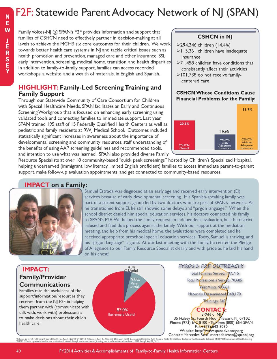 N E W  F2F  Statewide Parent Advocacy Network of NJ  SPAN  Family Voices-NJ   SPAN   s F2F provides information and suppor...