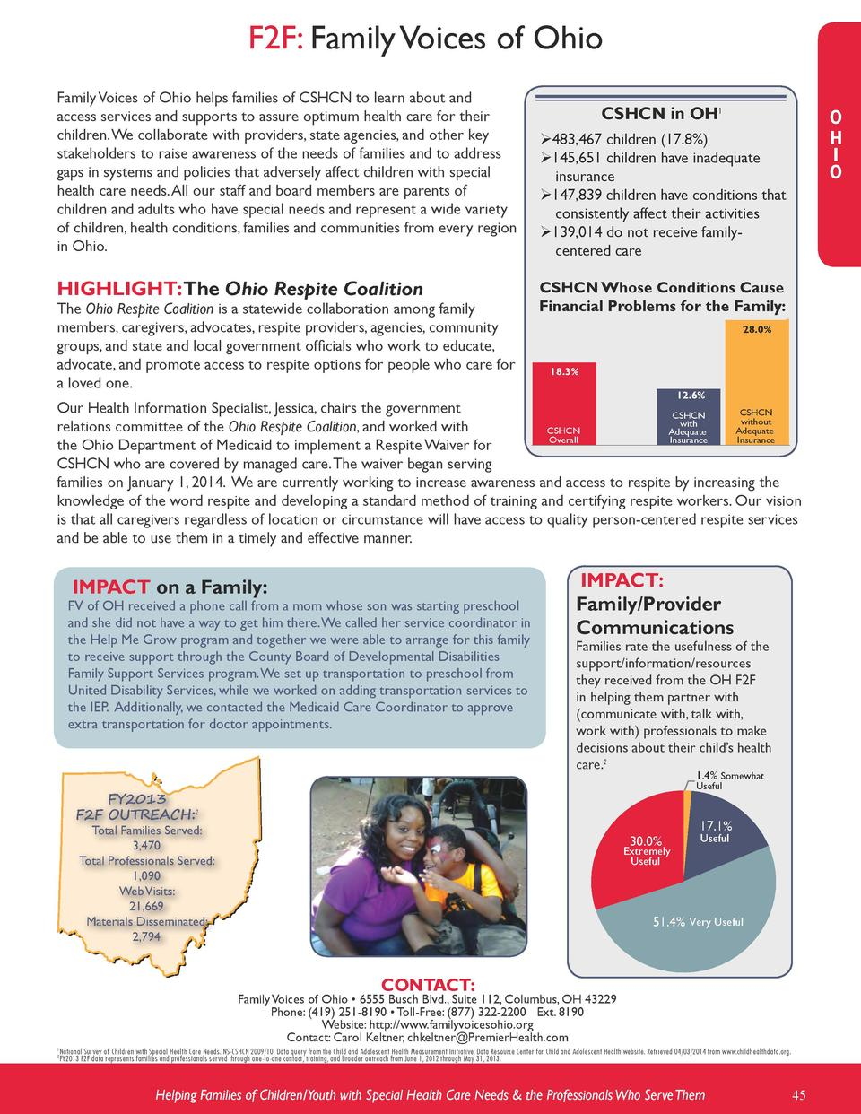 F2F  Family Voices of Ohio Family Voices of Ohio helps families of CSHCN to learn about and access services and supports t...
