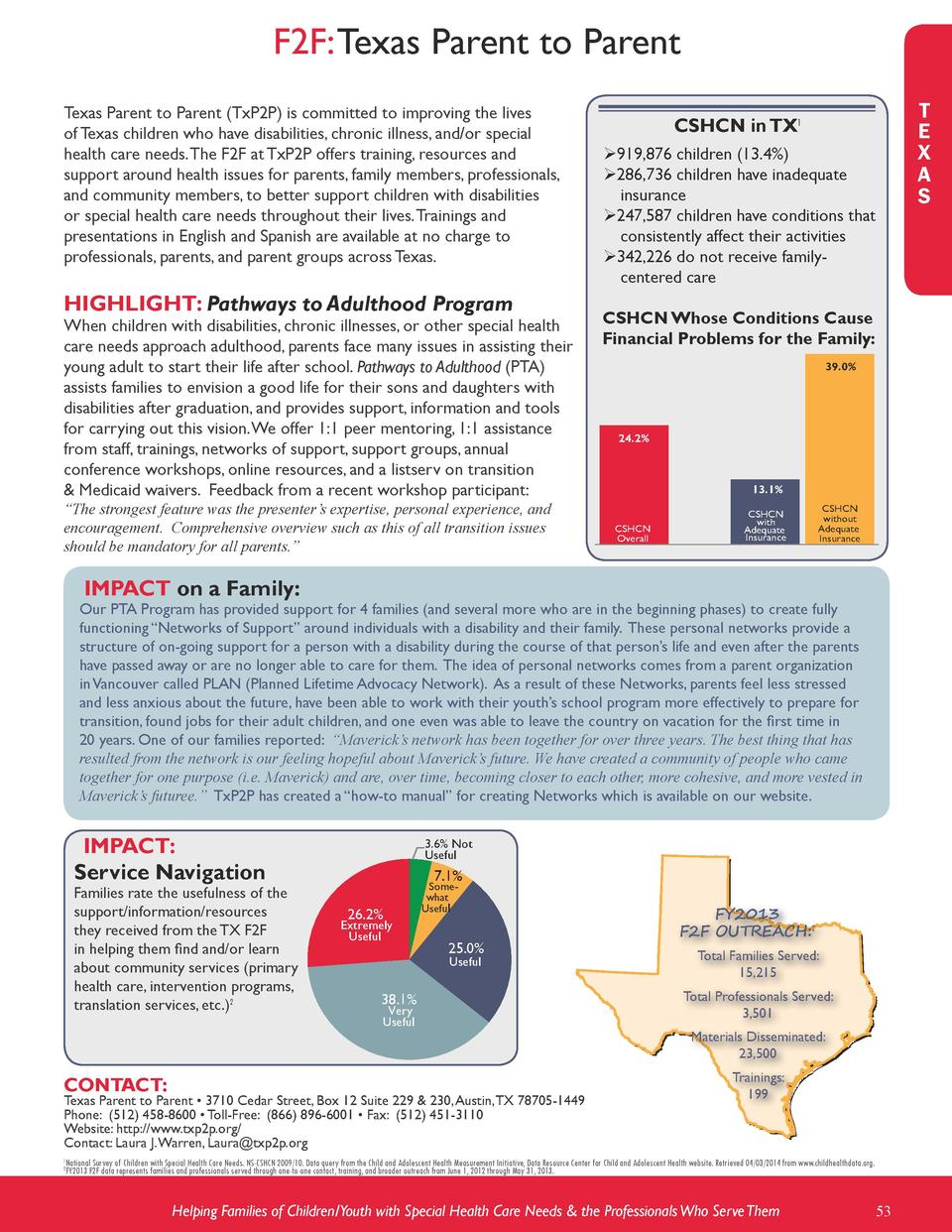 F2F  Texas Parent to Parent Texas Parent to Parent  TxP2P  is committed to improving the lives of Texas children who have ...