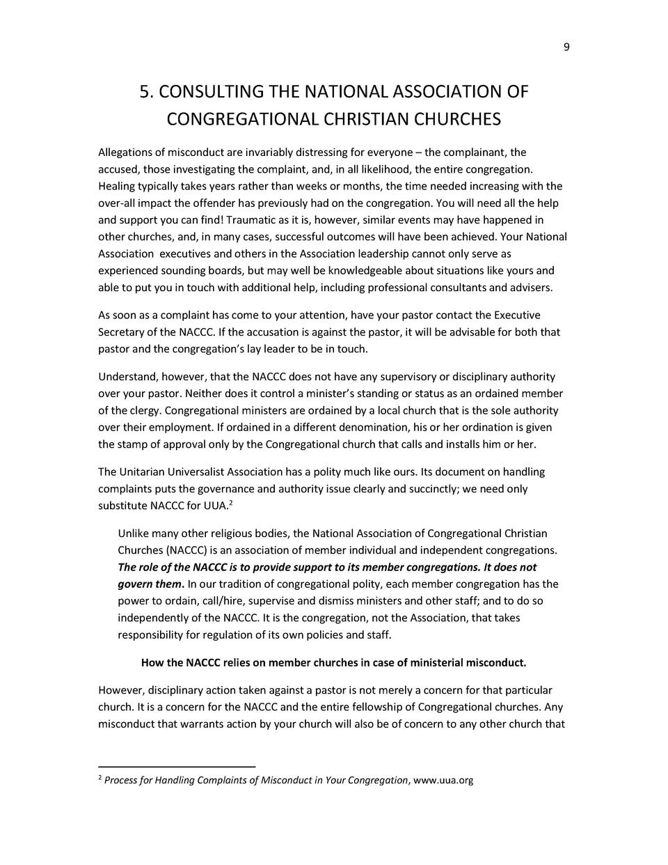 9  5. CONSULTING THE NATIONAL ASSOCIATION OF CONGREGATIONAL CHRISTIAN CHURCHES Allegations of misconduct are invariably di...