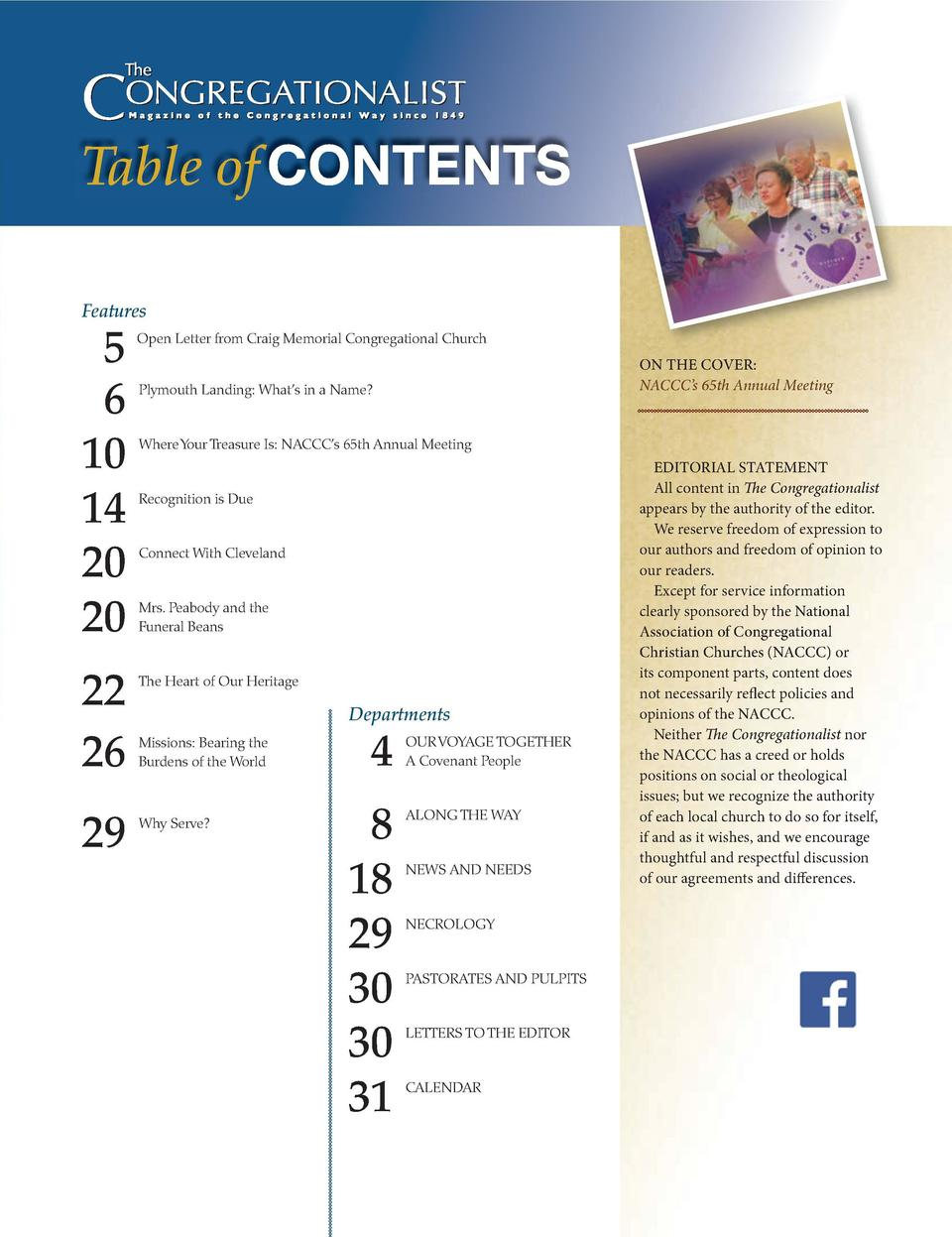 Table of CONTENTS Features  Congregations grow stronger with MMBB. When clergy and staff feel secure about their future, t...