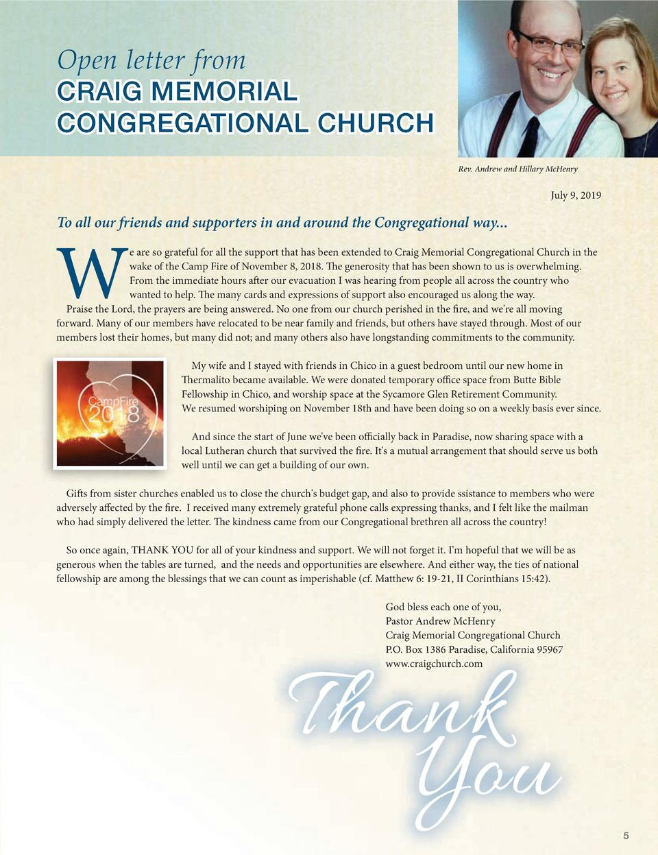 OUR  Voyage TOGETHER  By Michael Chittum, Executive Director National Association of Congregational Christian Churches  Op...