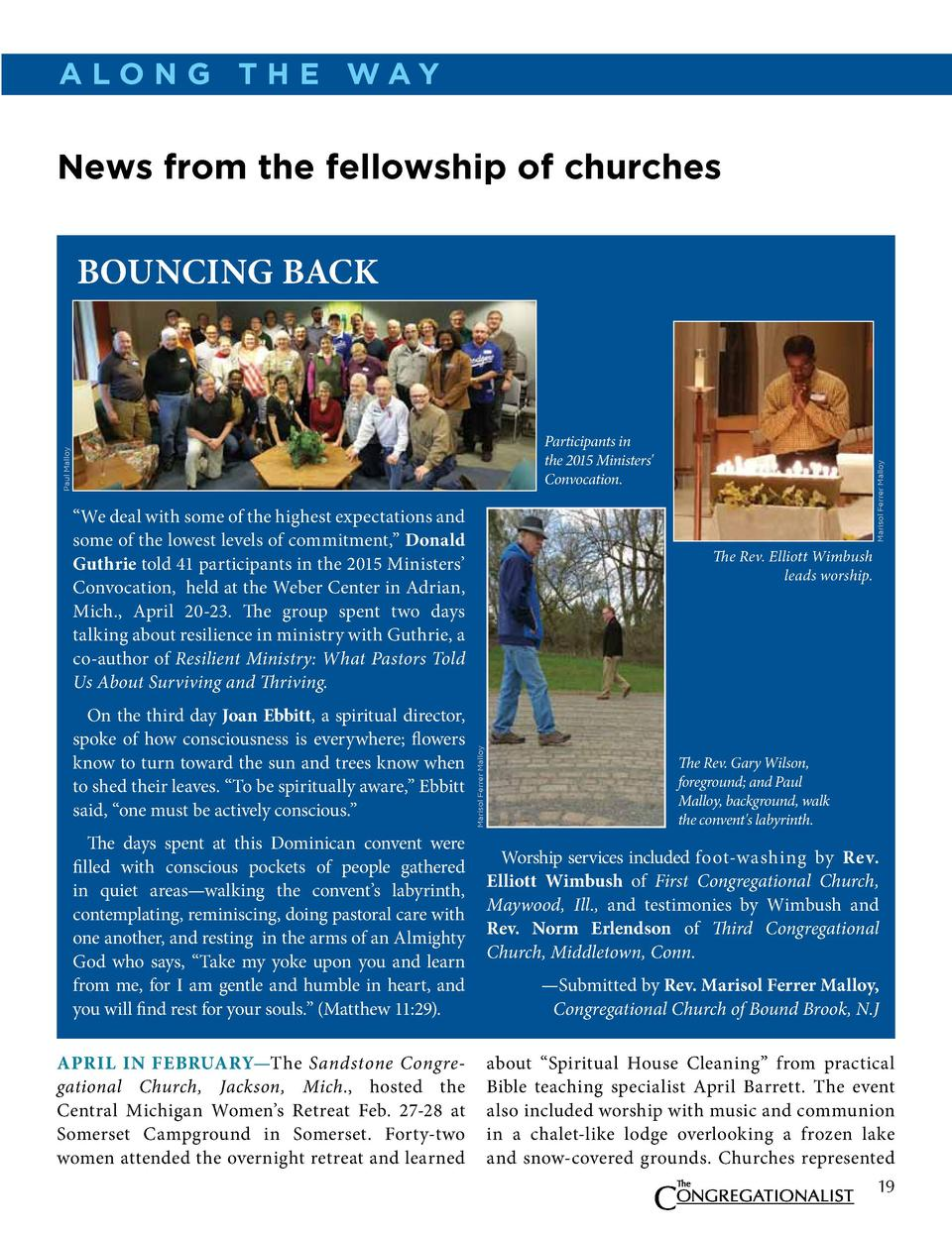a lo N g t h e way  News from the fellowship of churches  bounCing baCK     We deal with some of the highest expectations ...