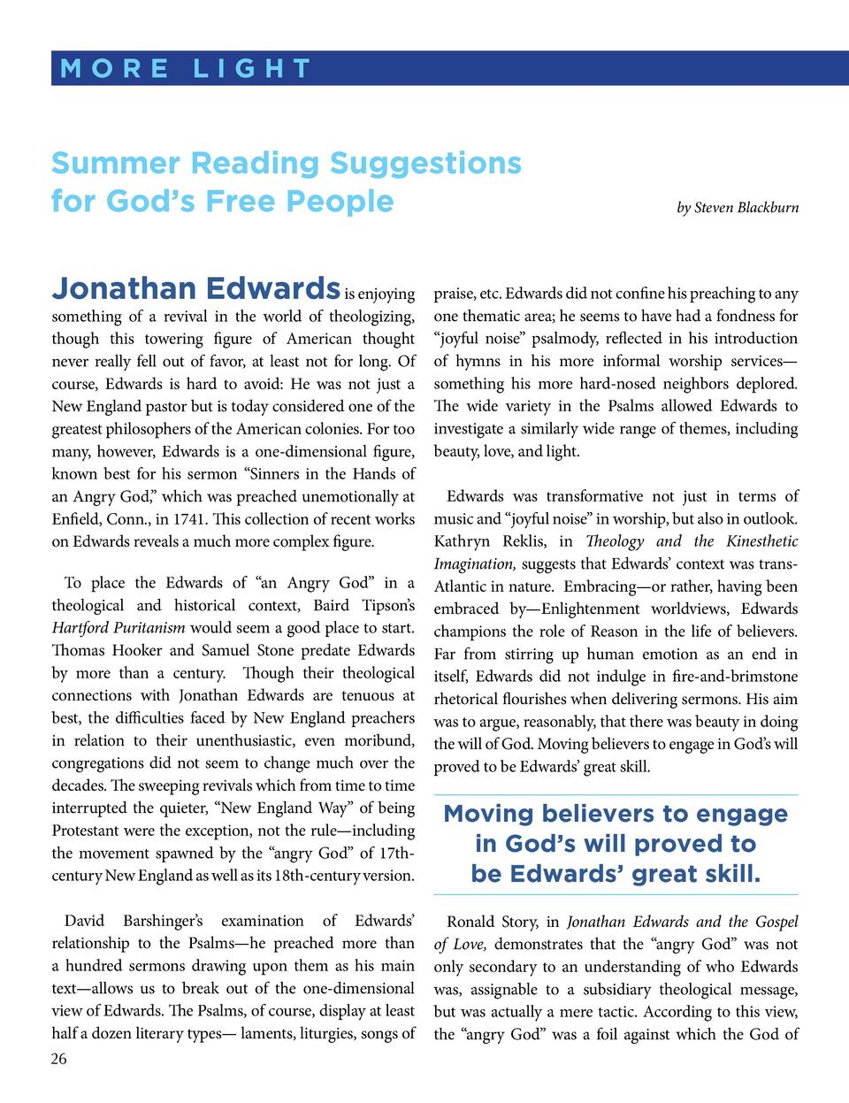 more light  summer reading suggestions for god   s free People Jonathan edwards is enjoying  something of a revival in the...