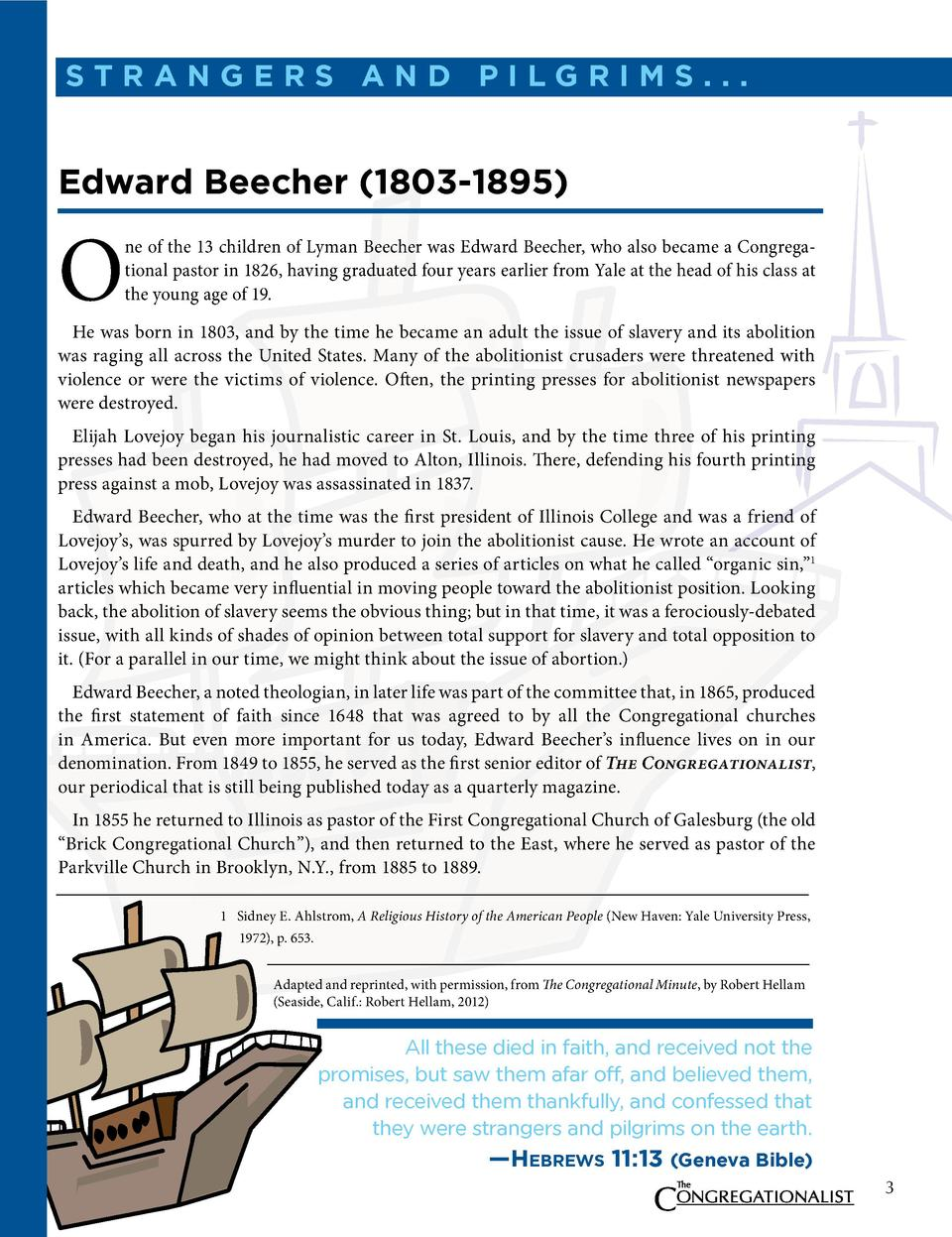 straNgers aNd Pilgrims...  edward Beecher  1803-1895   O  ne of the 13 children of Lyman Beecher was Edward Beecher, who a...