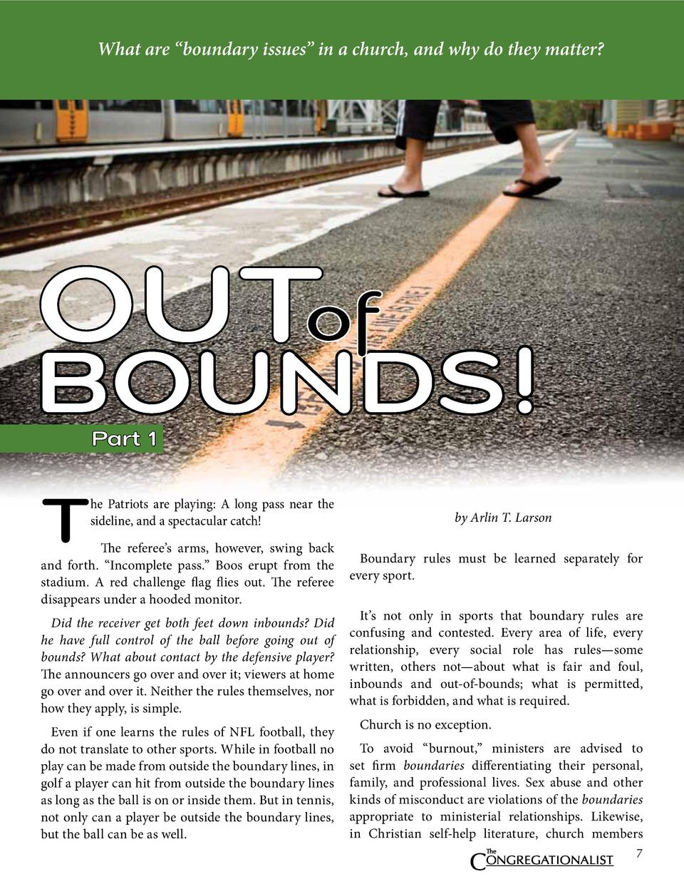 What are    boundary issues    in a church, and why do they matter   OUT  BOUNDS  Part 1  T  he Patriots are playing  A lo...