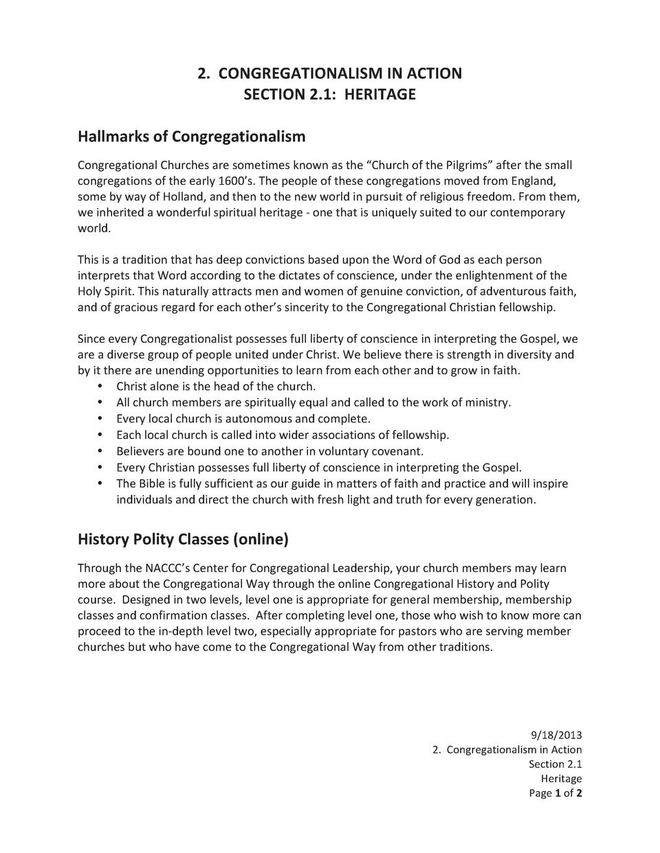 2.      CONGREGATIONALISM   IN   ACTION    SECTION   2.1       HERITAGE        Hallmarks   of   Congregationalism    ...
