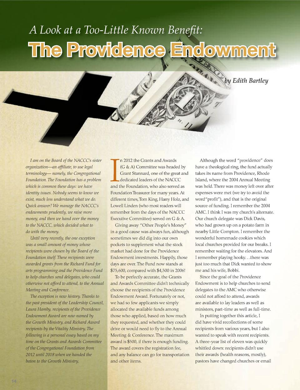 A Look at a Too-Little Known Bene   t   The Providence Endowment by Edith Bartley  I am on the Board of the NACCC   s sist...