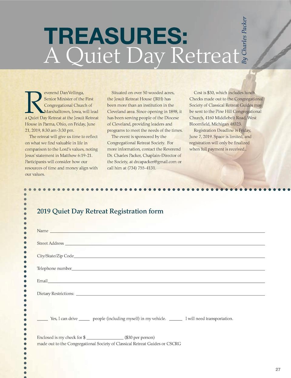 R  everend Dan Vellinga, Senior Minister of the First Congregational Church of Marshalltown, Iowa, will lead a Quiet Day R...