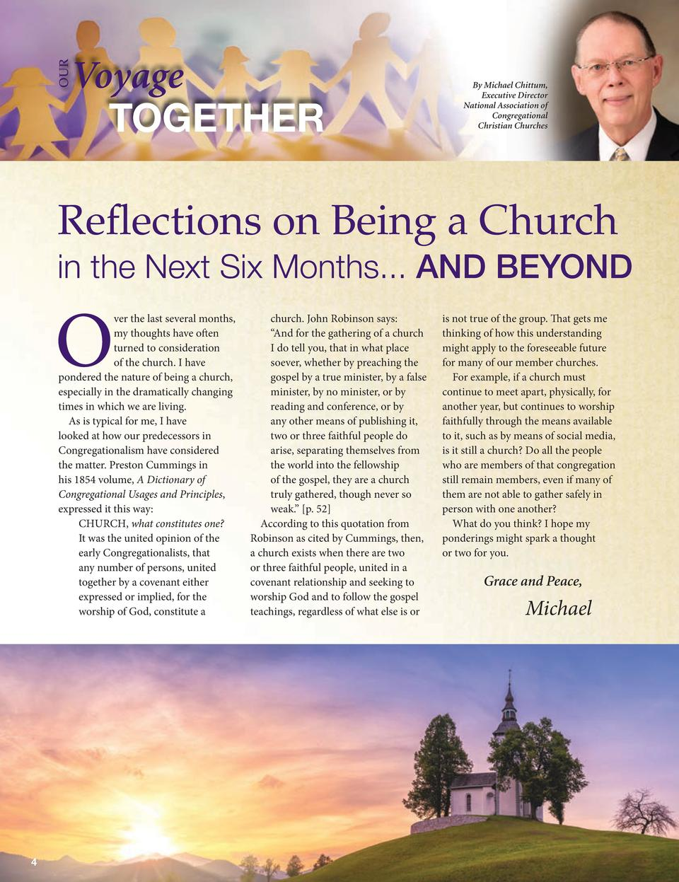 OUR  Voyage TOGETHER  By Michael Chittum, Executive Director National Association of Congregational Christian Churches  Re...
