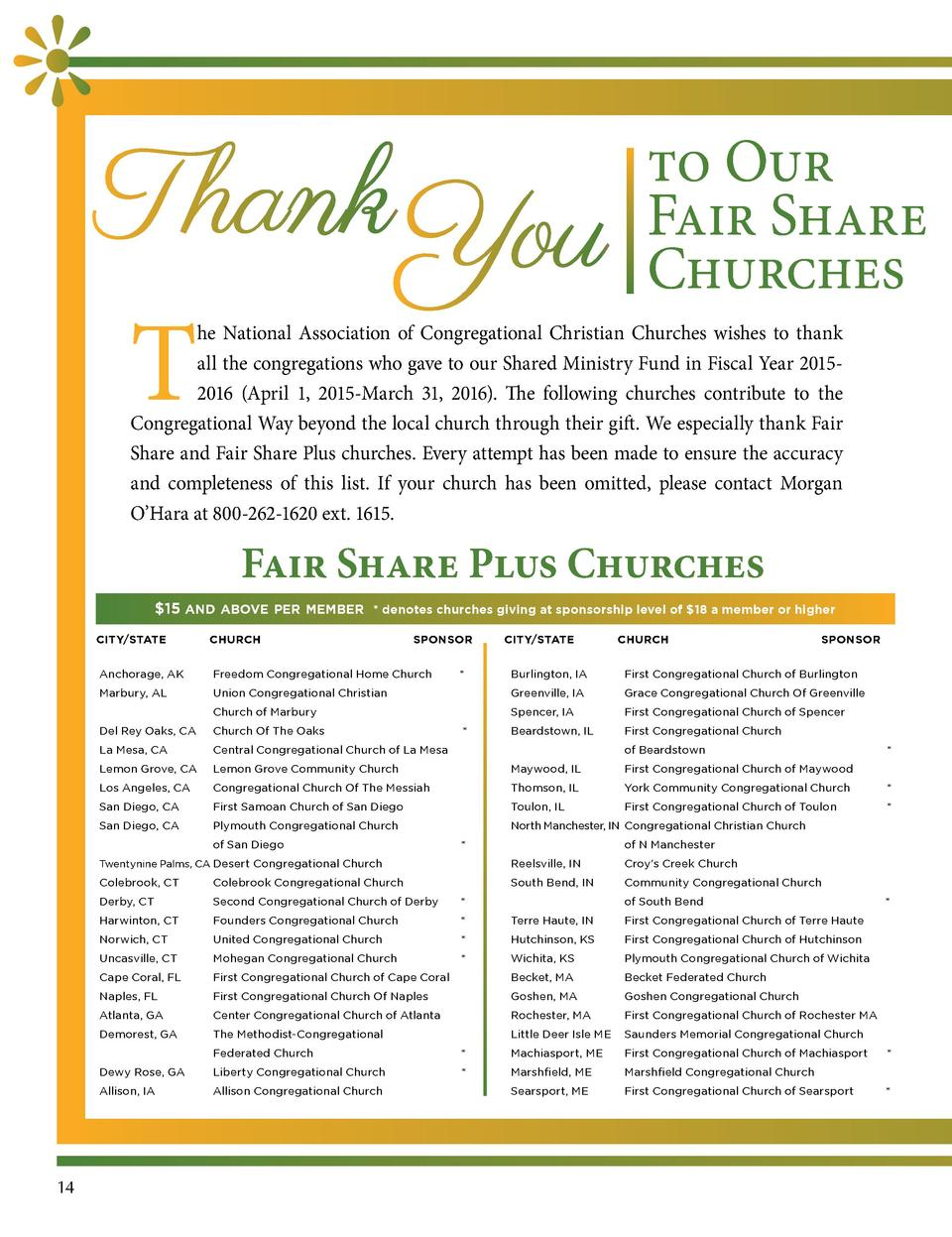 to Our Fair Share Churches  T  he National Association of Congregational Christian Churches wishes to thank all the congre...