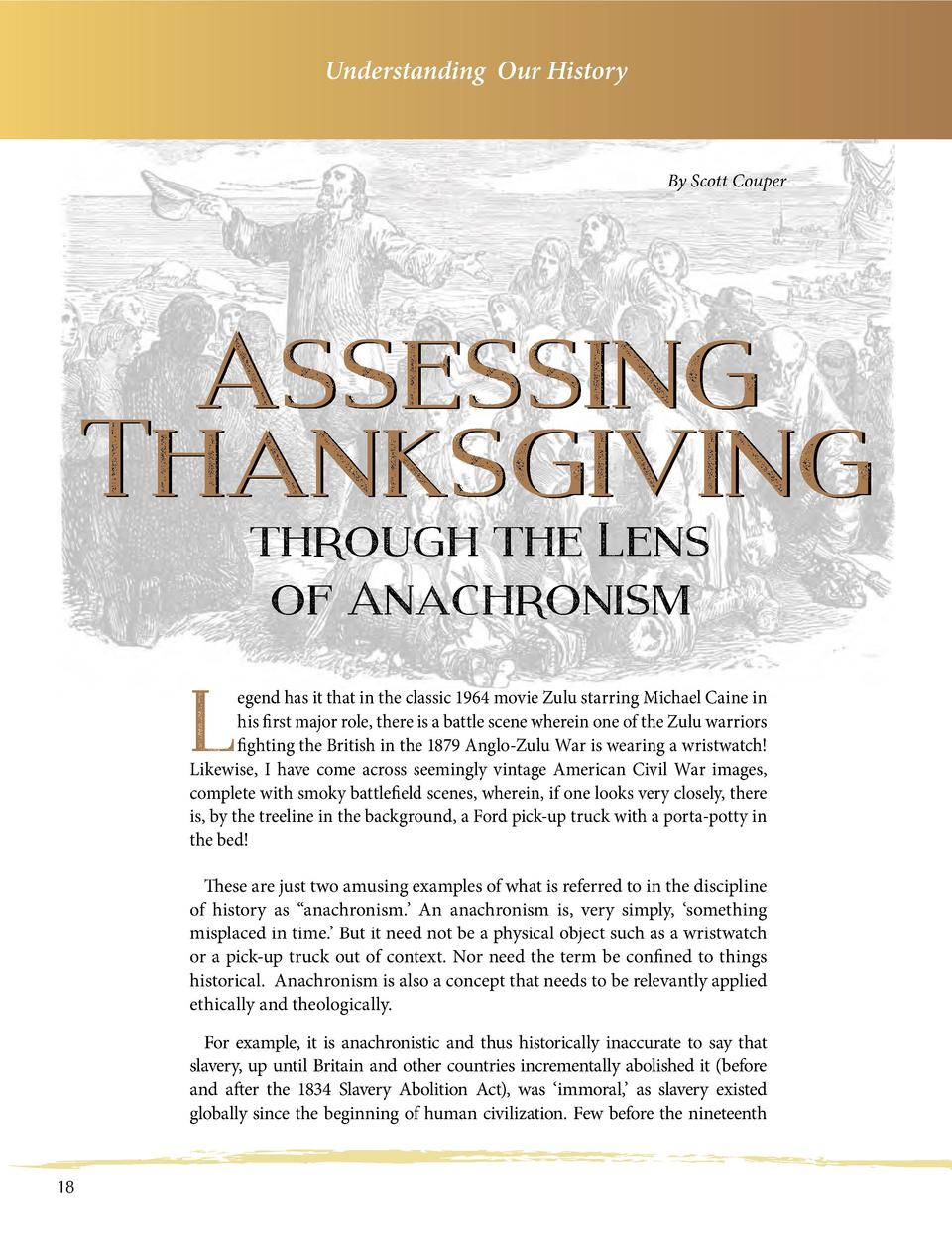 Understanding Our History  By Scott Couper  Assessing Thanksgiving through the Lens of Anachronism  L  egend has it that i...
