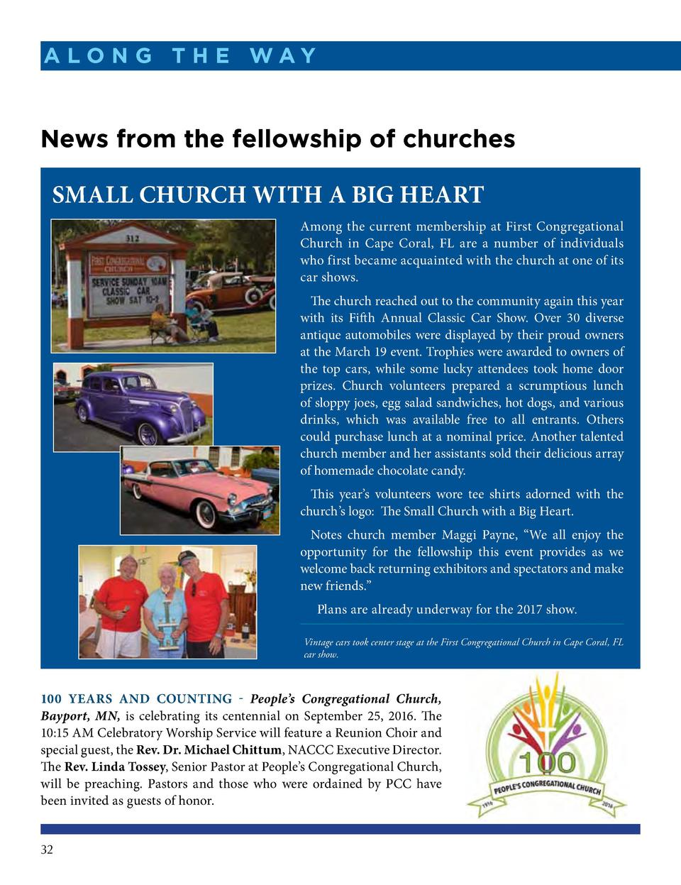A lo n g t h e Way  News from the fellowship of churches Small Church with a Big Heart Among the current membership at Fir...
