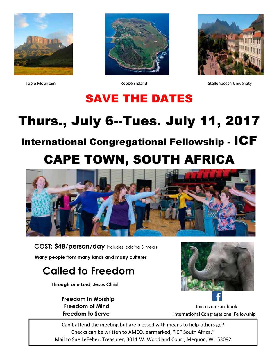 Table Mountain  Robben Island  Stellenbosch University  SAVE THE DATES  Thurs., July 6--Tues. July 11, 2017 International ...