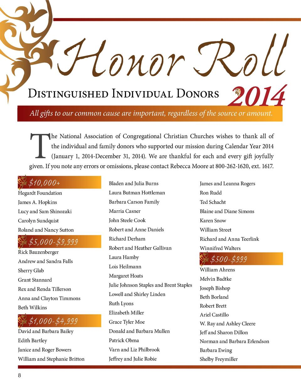 Honor Roll  Distinguished Individual Donors  All gifts to our common cause are important, regardless of the source or amou...