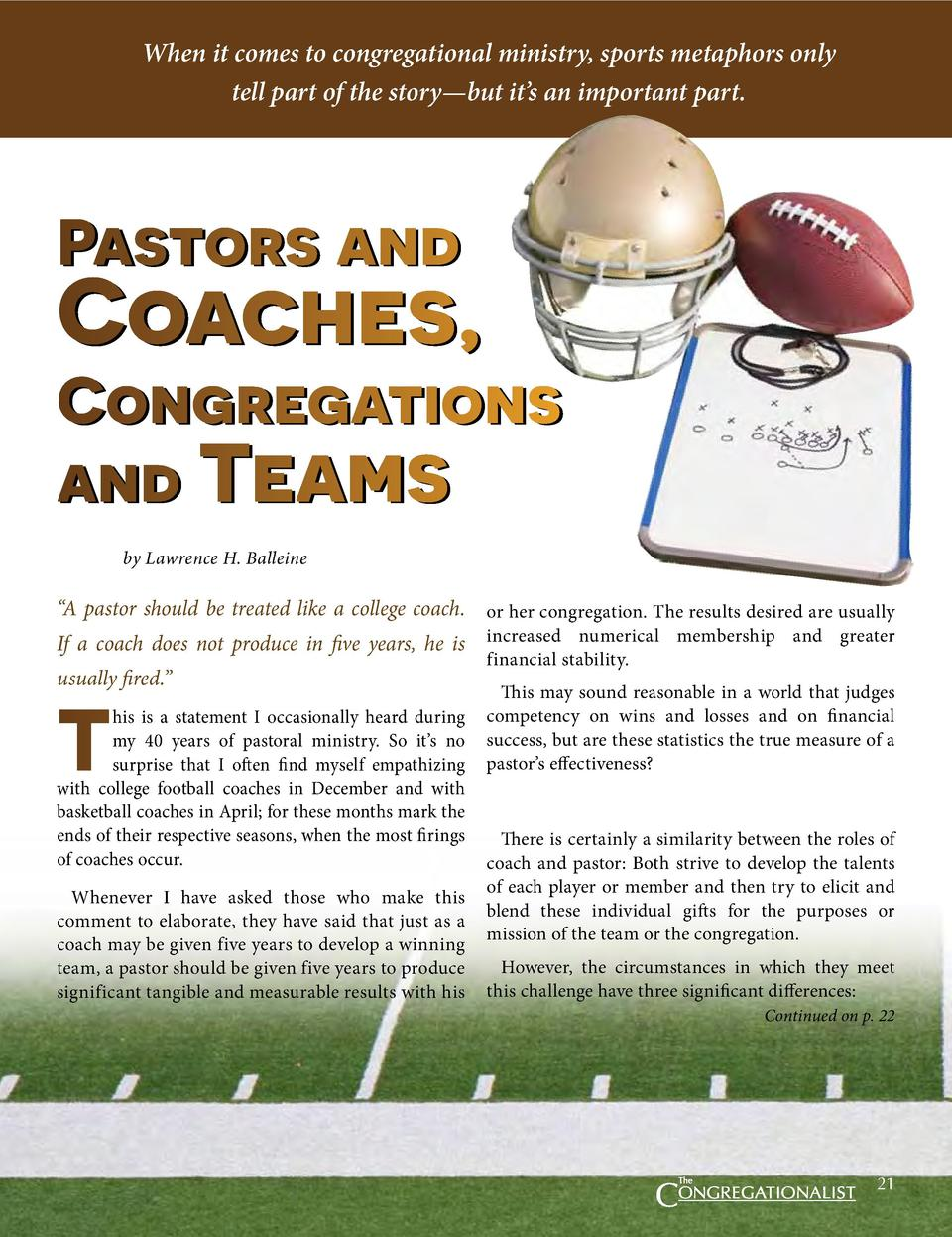 When it comes to congregational ministry, sports metaphors only tell part of the story   but it   s an important part.  Pa...