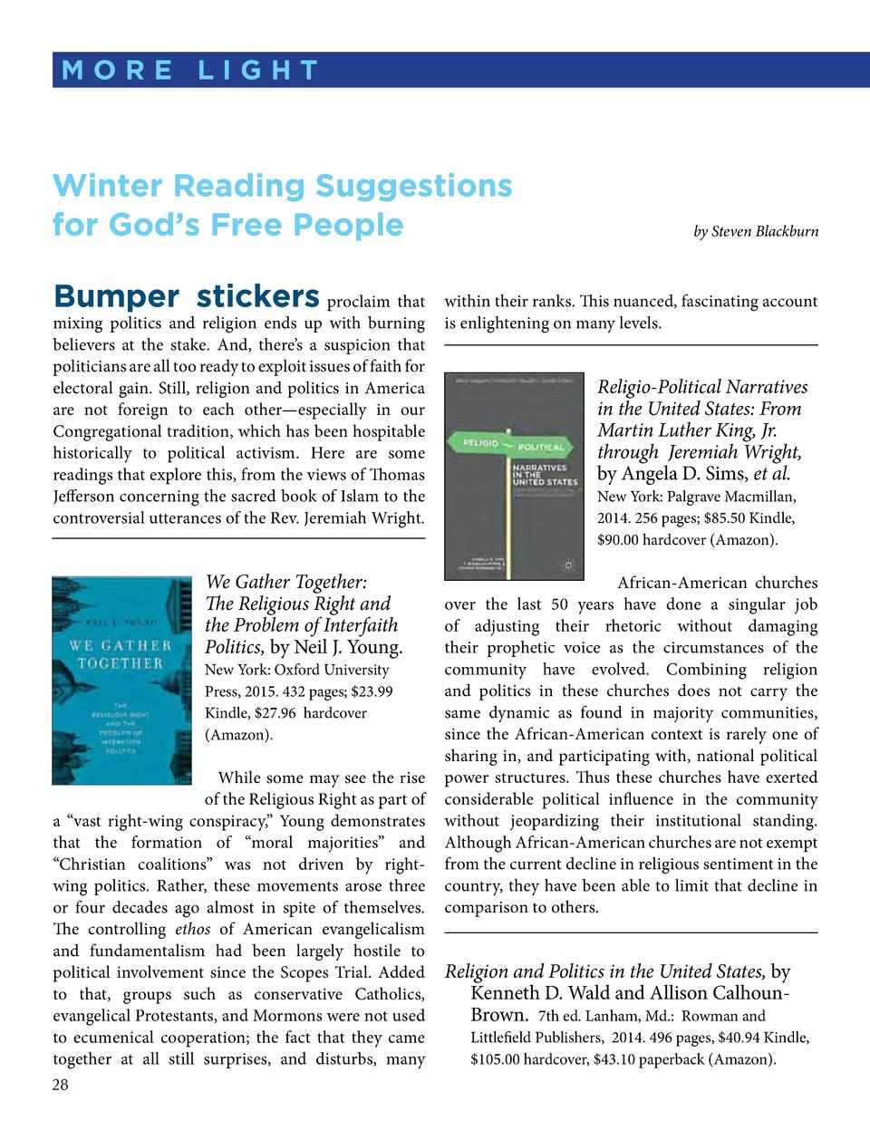 M ORE LIGHT  Winter Reading Suggestions for God   s Free People Bumper stickers  proclaim that mixing politics and religio...