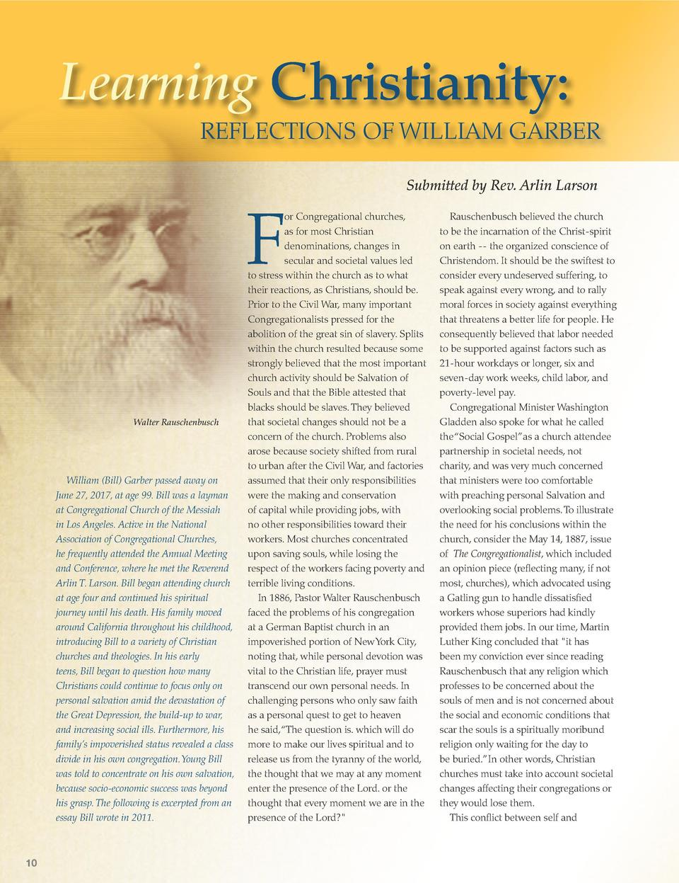 Learning Christianity  REFLECTIONS OF WILLIAM GARBER Submitted by Rev. Arlin Larson  F Walter Rauschenbusch  William  Bill...