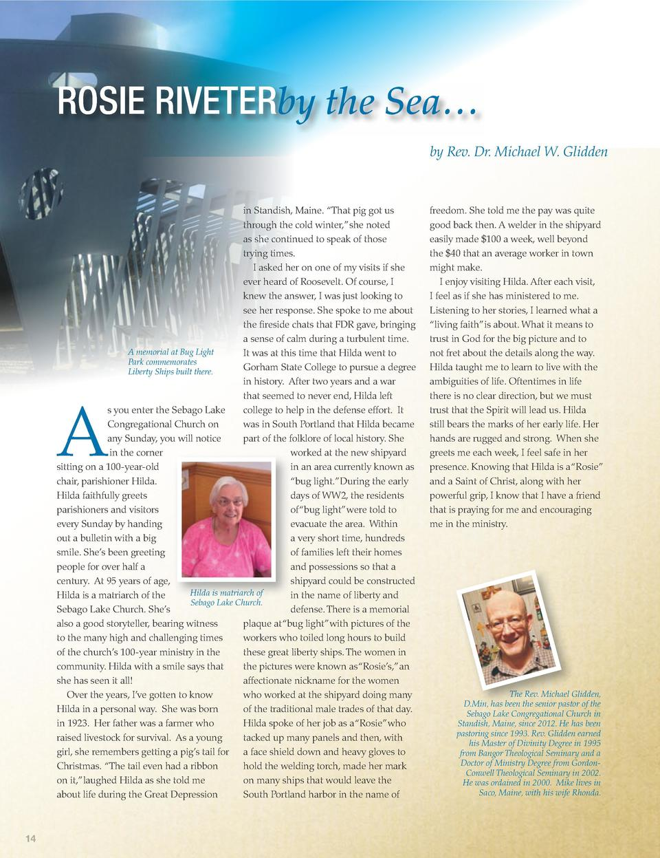 ROSIE RIVETERby the Sea    by Rev. Dr. Michael W. Glidden  in Standish, Maine.    That pig got us through the cold winter,...