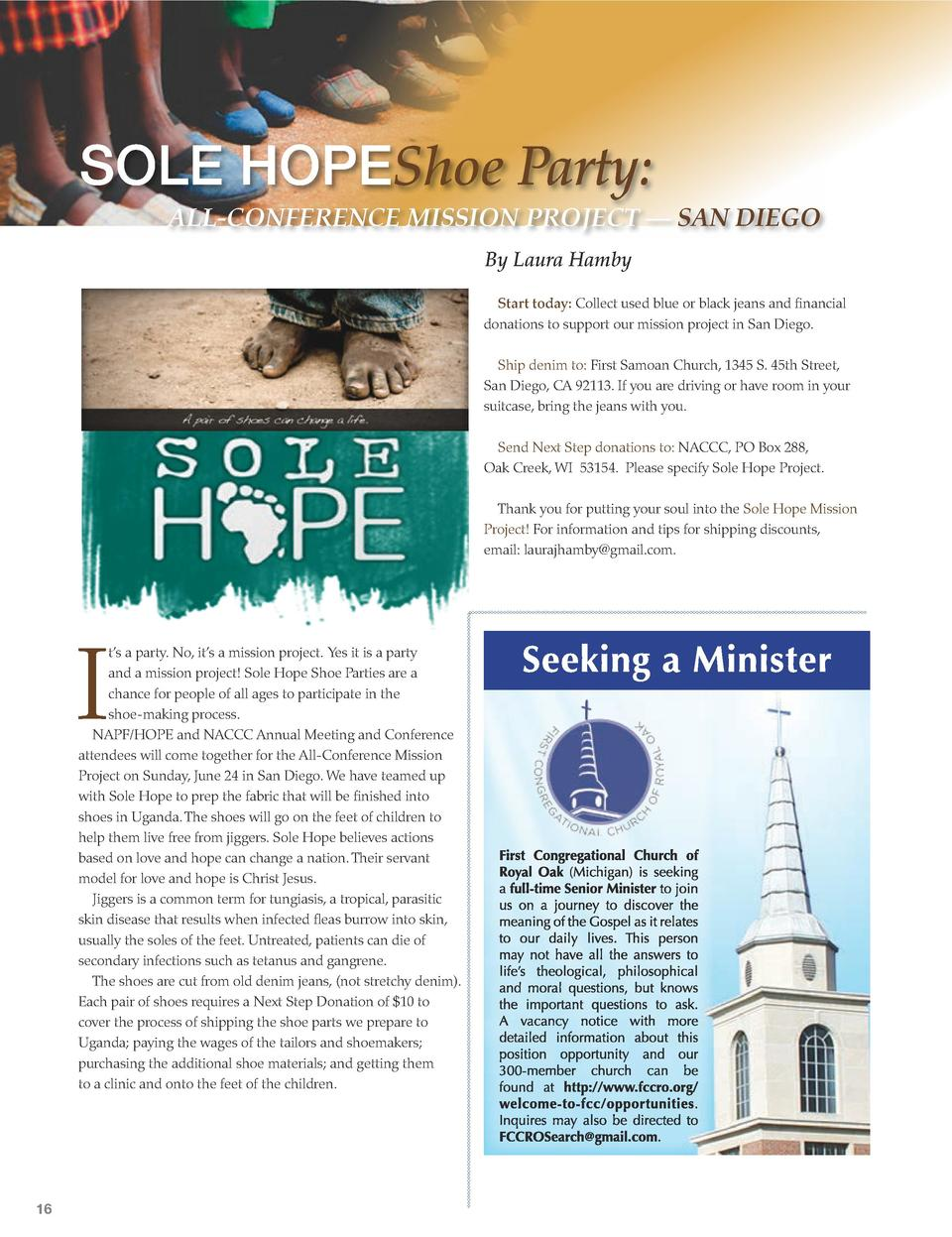 SOLE HOPEShoe Party   ALL-CONFERENCE MISSION PROJECT        SAN DIEGO By Laura Hamby Start today  Collect used blue or bla...