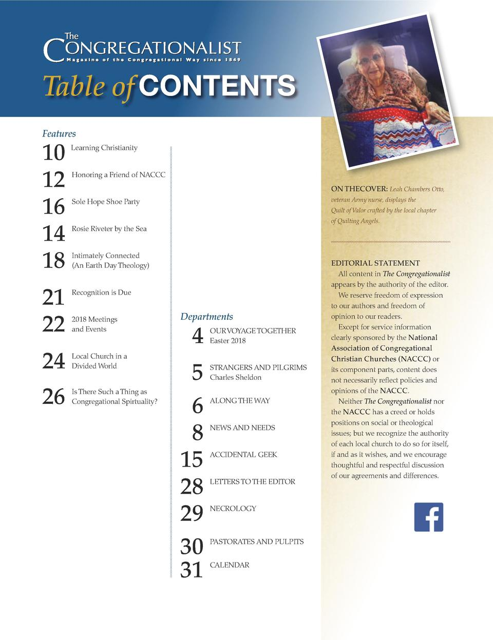 Table of CONTENTS Features  10 12 16 14 18  Learning Christianity       Honoring a Friend of NACCC ON THECOVER  Leah Chamb...