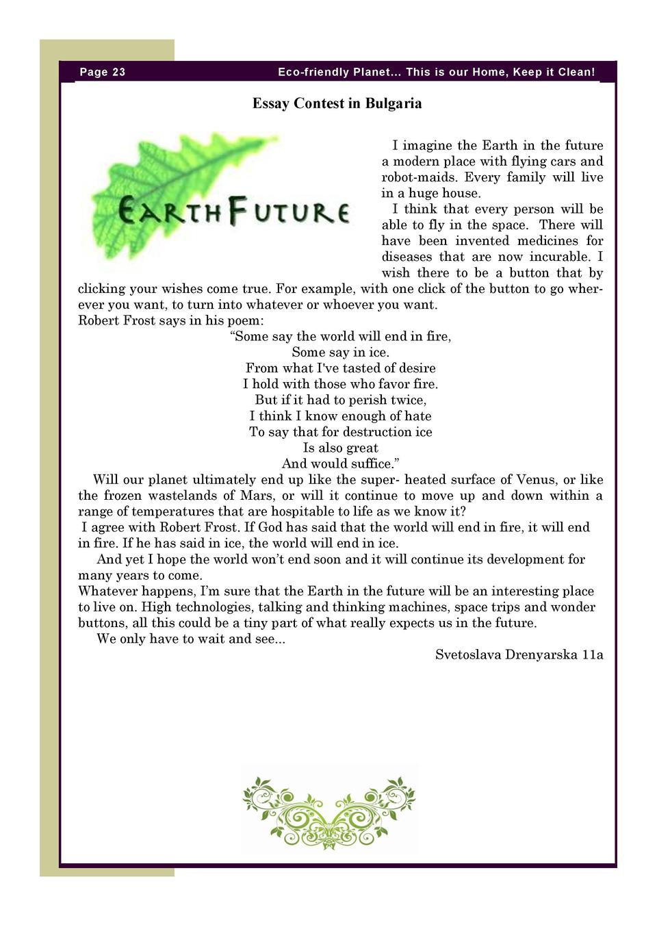 eco friendly planet com page 23 eco friendly planet this is our home keep it clean essay contest