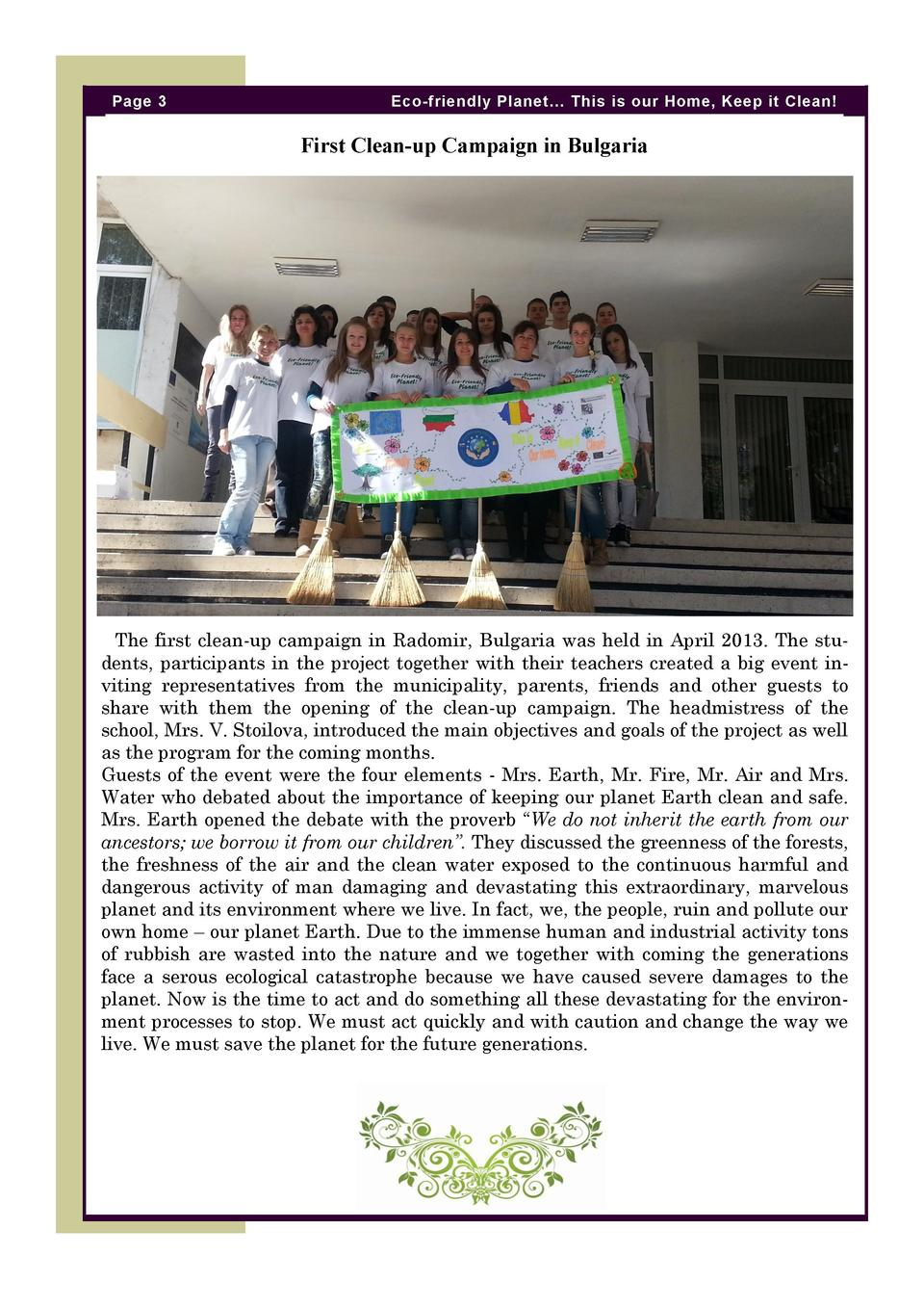 Page 3  Eco-friendly Planet    This is our Home, Keep it Clean   First Clean-up Campaign in Bulgaria  The first clean-up c...