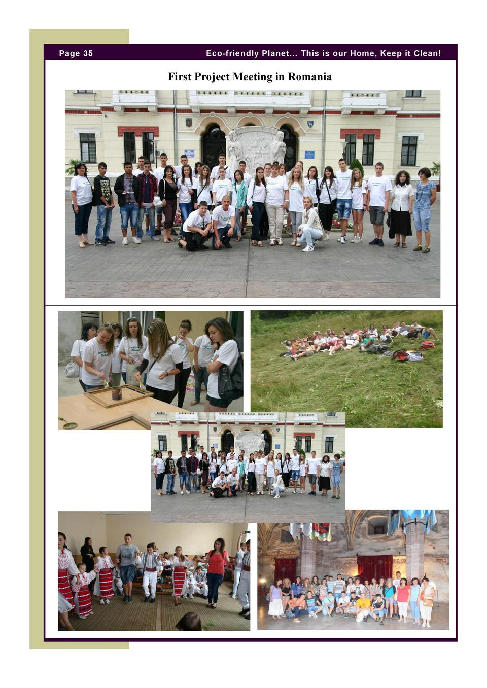 Page 35  Eco-friendly Planet    This is our Home, Keep it Clean   First Project Meeting in Romania