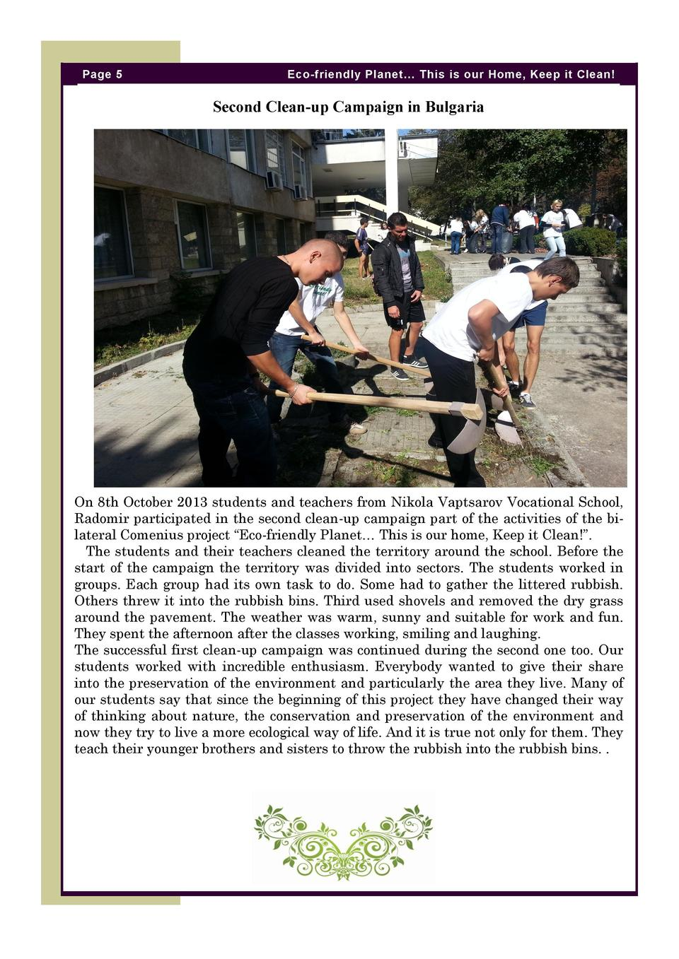 Page 5  Eco-friendly Planet    This is our Home, Keep it Clean   Second Clean-up Campaign in Bulgaria  On 8th October 2013...
