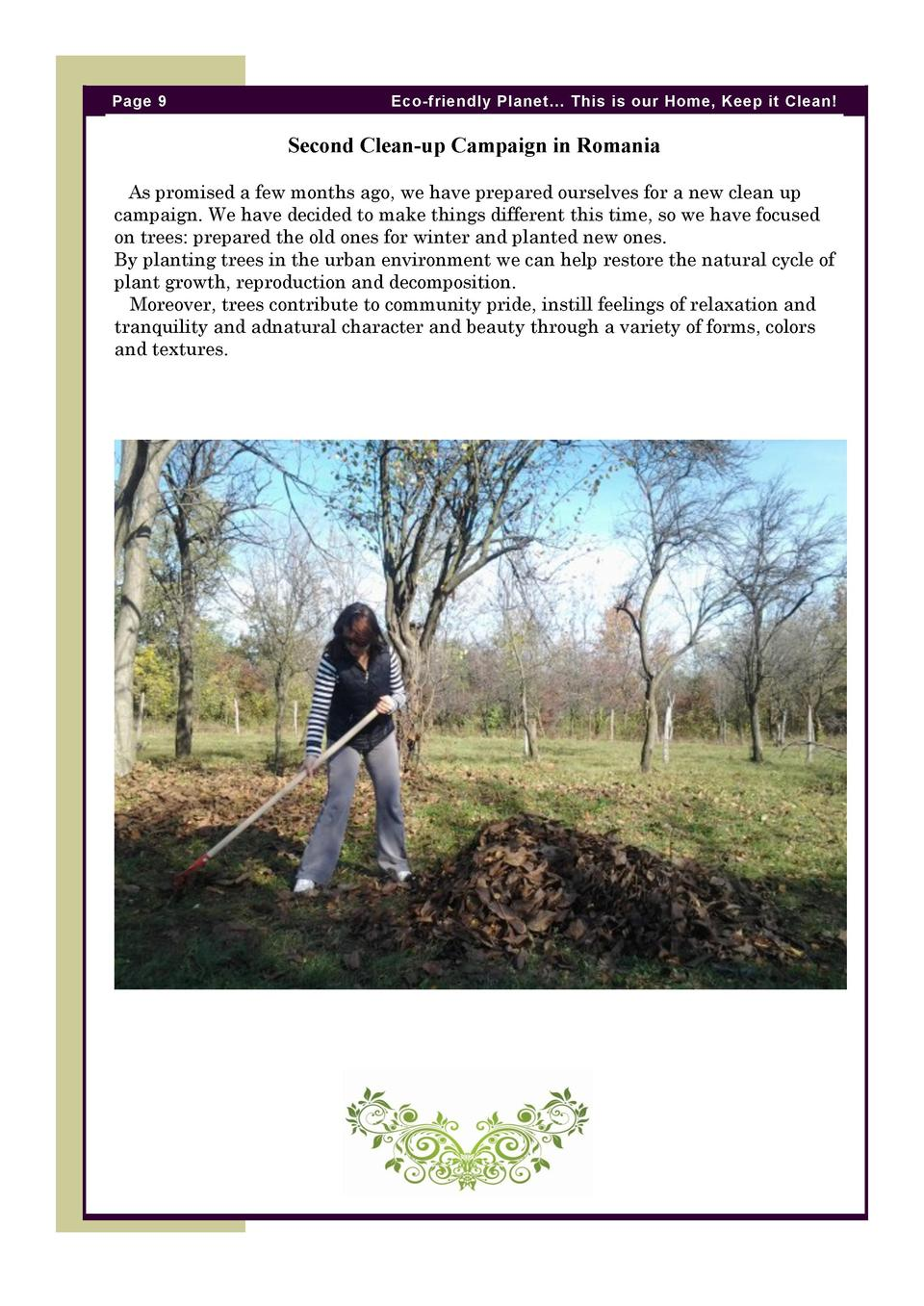 Page 9  Eco-friendly Planet    This is our Home, Keep it Clean   Second Clean-up Campaign in Romania As promised a few mon...