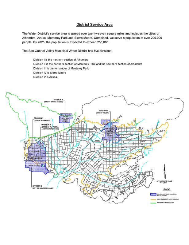 District Service Area The Water District   s service area is spread over twenty-seven square miles and includes the cities...