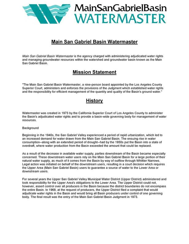 Main San Gabriel Basin Watermaster Main San Gabriel Basin Watermaster is the agency charged with administering adjudicated...