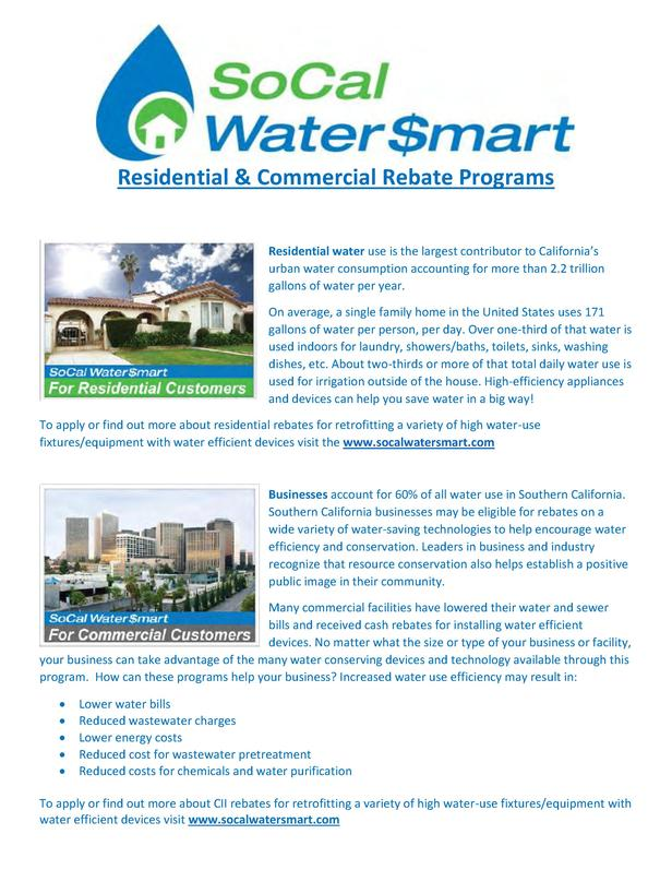 Residential   Commercial Rebate Programs Residential water use is the largest contributor to California   s urban water co...