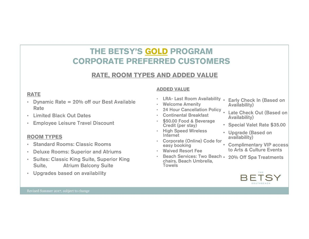 THE BETSY   S GOLD PROGRAM CORPORATE PREFERRED CUSTOMERS RATE, ROOM TYPES AND ADDED VALUE RATE        Dynamic Rate   20  o...