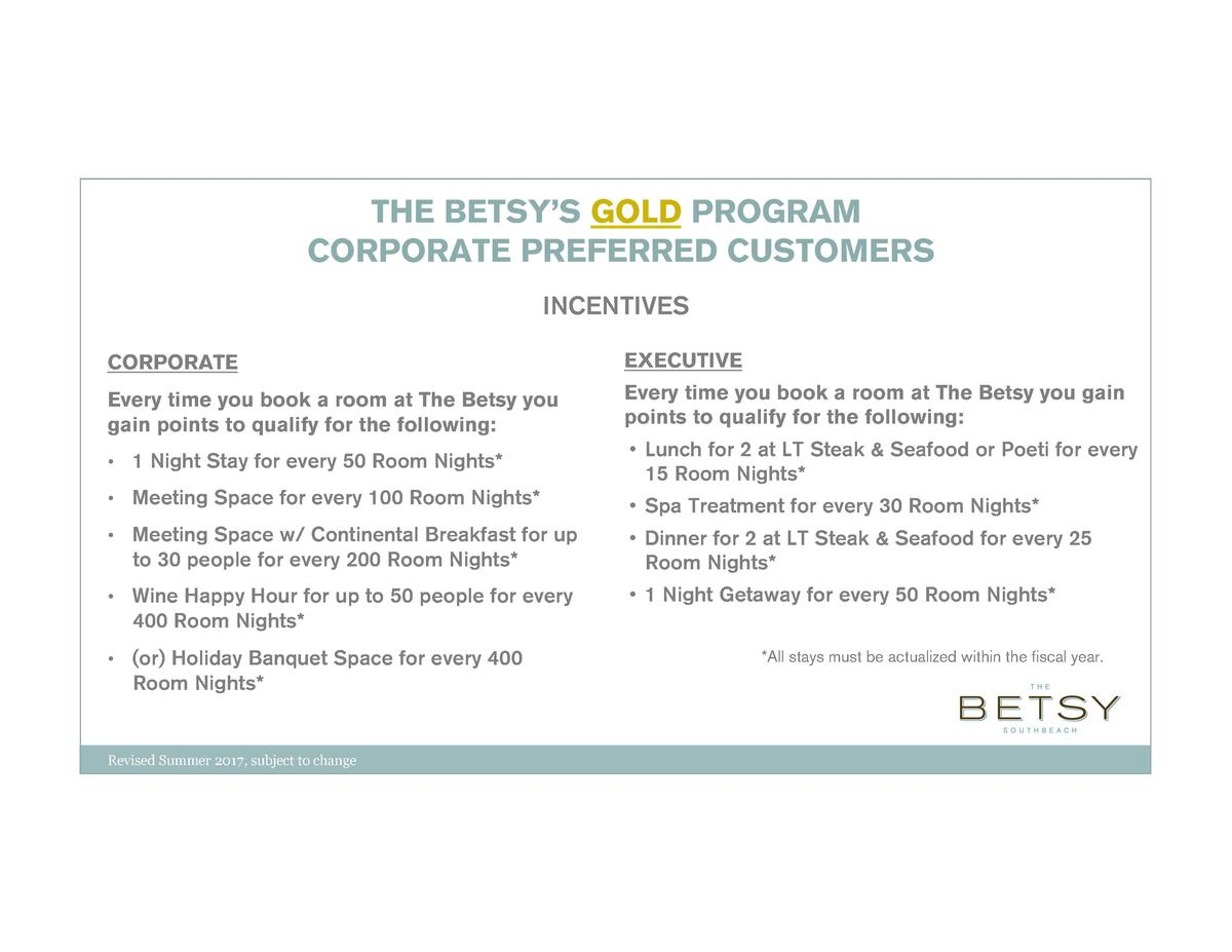 THE BETSY   S GOLD PROGRAM CORPORATE PREFERRED CUSTOMERS INCENTIVES CORPORATE  EXECUTIVE  Every time you book a room at Th...