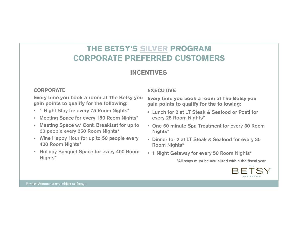 THE BETSY   S SILVER PROGRAM CORPORATE PREFERRED CUSTOMERS INCENTIVES CORPORATE Every time you book a room at The Betsy yo...