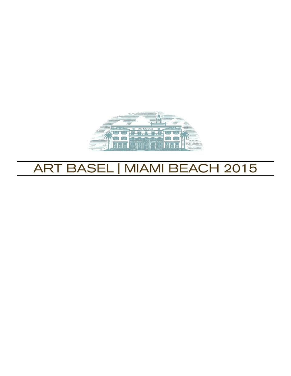 ART BASEL   MIAMI BEACH 2015  Cover  Christopher Cozier