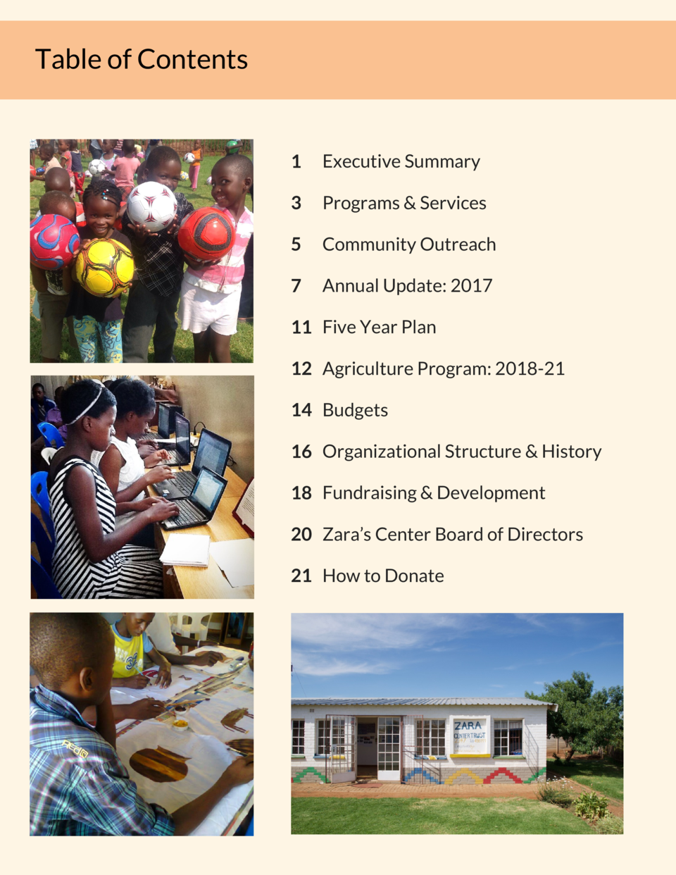 Table of Contents  1  Executive Summary  3  Programs   Services  5  Community Outreach  7  Annual Update  2017  11 Five Ye...