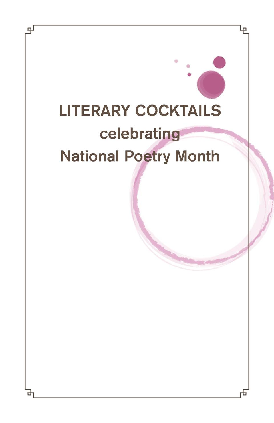 LITERARY COCKTAILS celebrating National Poetry Month