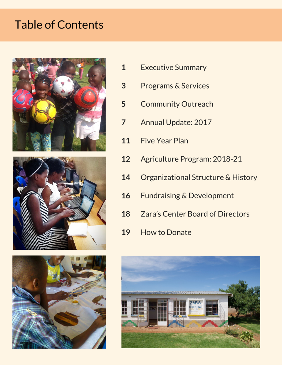 Table of Contents  1  Executive Summary  3  Programs   Services  5  Community Outreach  7  Annual Update  2017  11  Five Y...