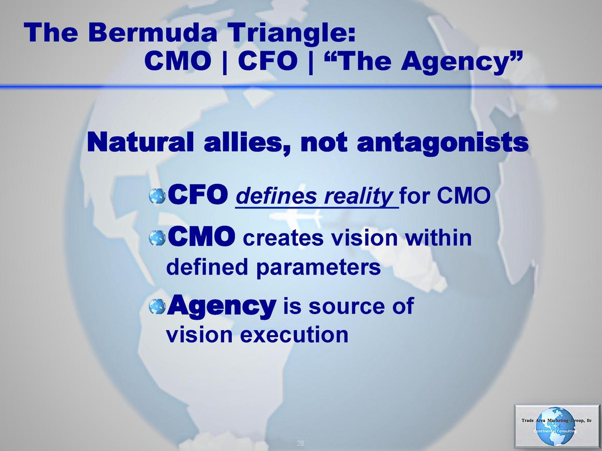 The Bermuda Triangle  CMO   CFO      The Agency    Natural allies, not antagonists      CFO defines reality for CMO      C...