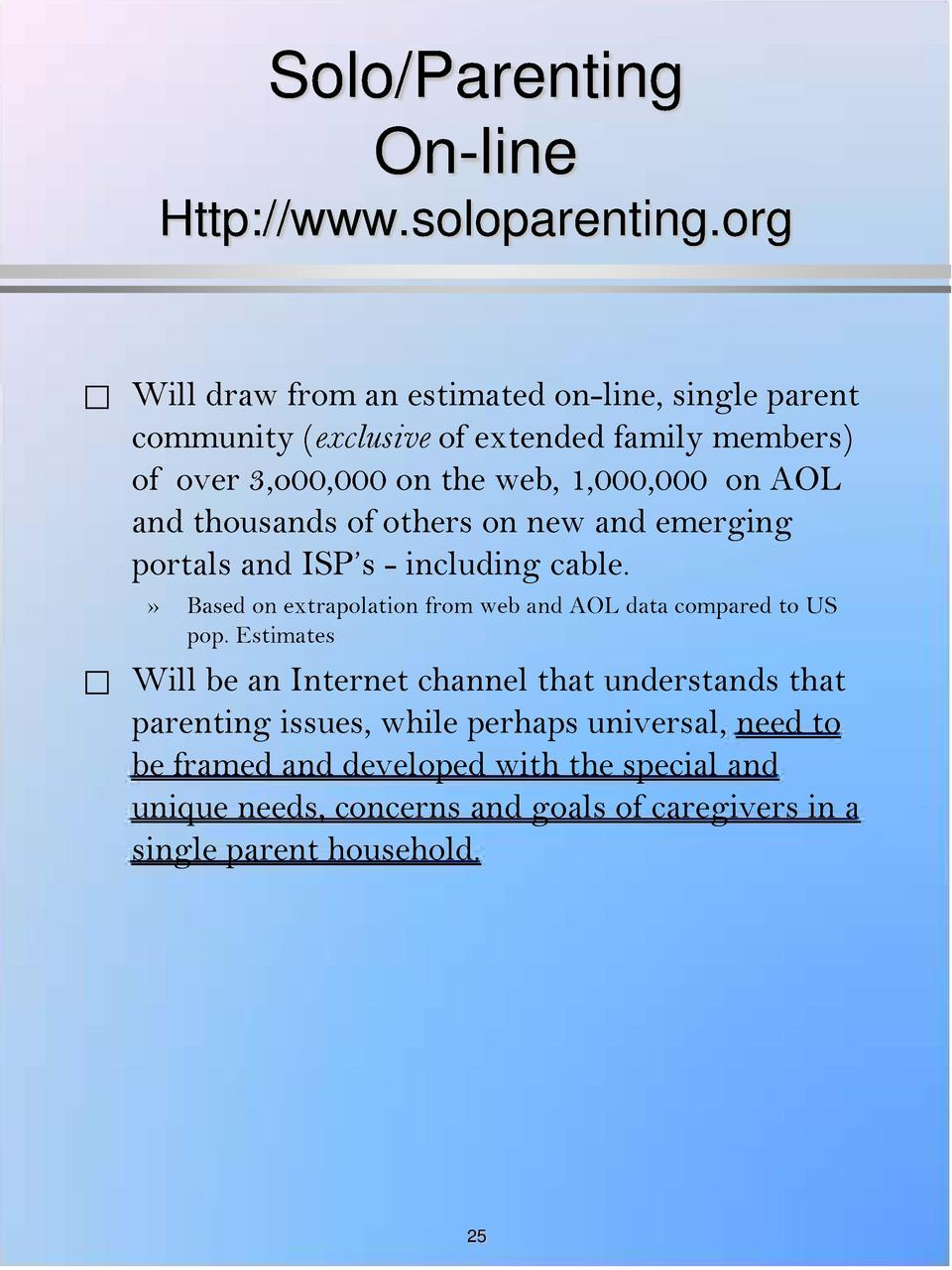 Solo Parenting On-line Http   www.soloparenting.org       Will draw from an estimated on-line, single parent community  ex...