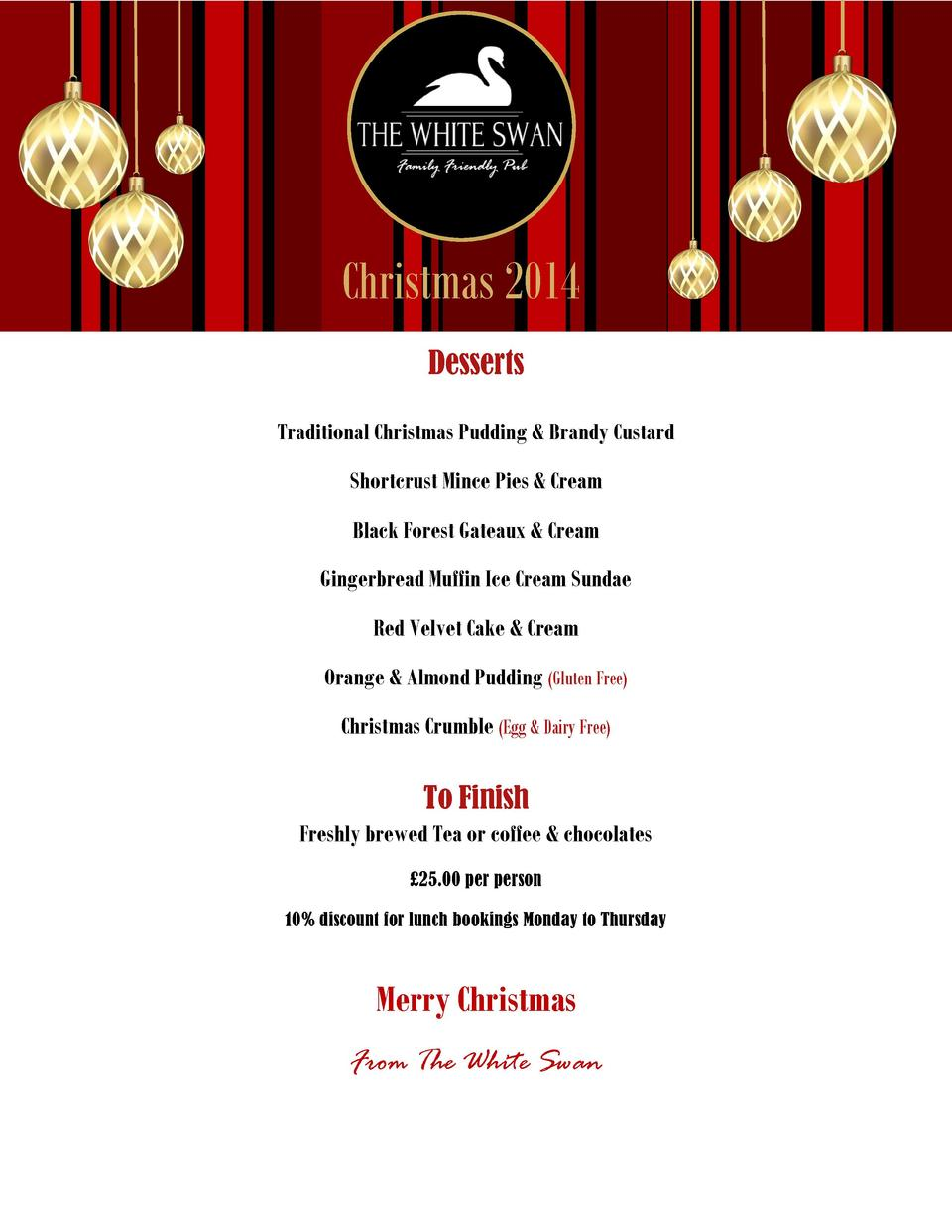 Christmas 2014 Desserts Traditional Christmas Pudding   Brandy Custard Shortcrust Mince Pies   Cream Black Forest Gateaux ...